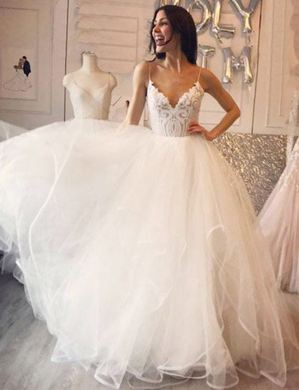Beauty Floor Length A-Line Spaghetti Straps Wedding Dress with Appliques - ericprom