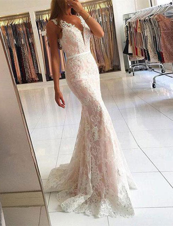 Gorgeous Mermaid Floor Length V-Neck Lace Prom Dress with Appliques - ericprom