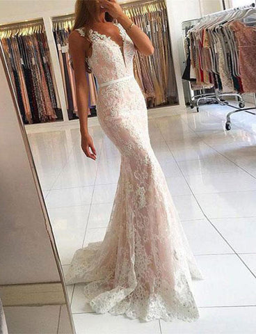 Gorgeous Mermaid Floor Length V-Neck Lace Prom Dress with Appliques