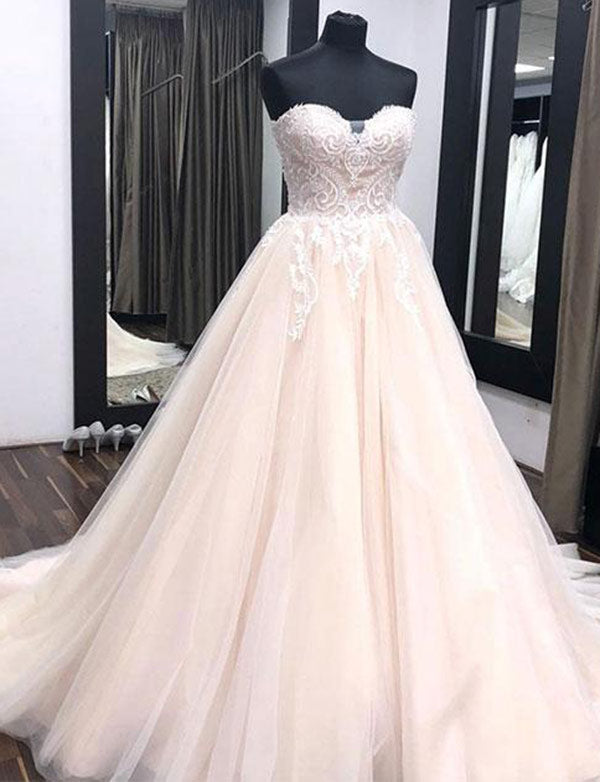 Top A-Line Sweetheart Court Train Tulle Pink Wedding Dress with Appliques - ericprom