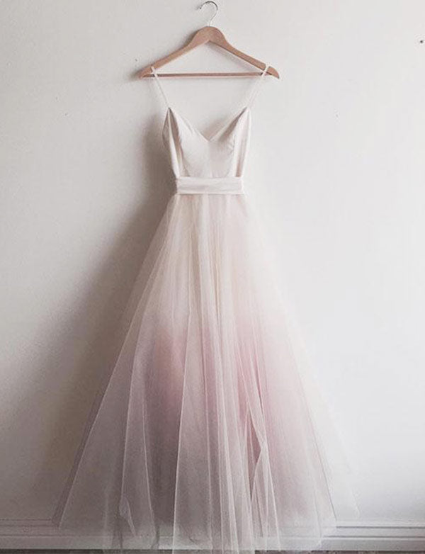 Affordable Spaghetti Straps Tulle A-Line Floor-Length Pink Prom Dress - ericprom
