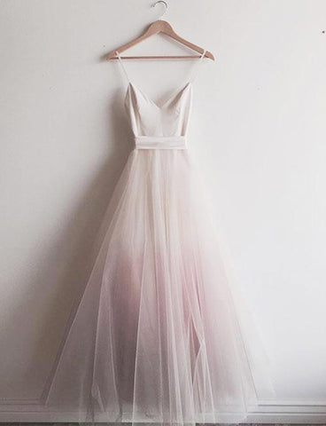 Affordable Spaghetti Straps Tulle A-Line Floor-Length Pink Prom Dress