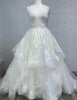 A Line Spaghetti Straps Princess Wedding Dress with Beading Appliques Tiered