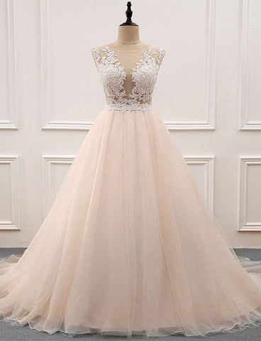 Amazing Crew Champagne Evening Dress with Appliques Long Prom Gown