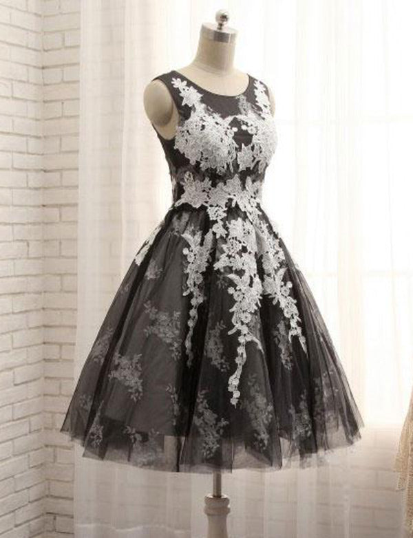 Charming A Line Black Homecoming Dresses with Appliques Short Cocktail Dress - ericprom