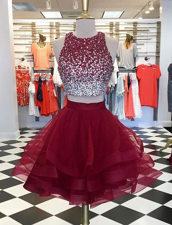 Jewel Short Two Piece Homecoming Dresses with Beading Burgundy Cocktail Dress - ericprom
