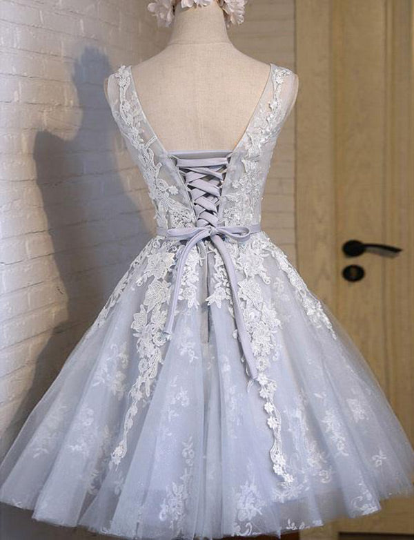Beautiful A-Line Round Neck Short Homecoming Dress with Appliques - ericprom