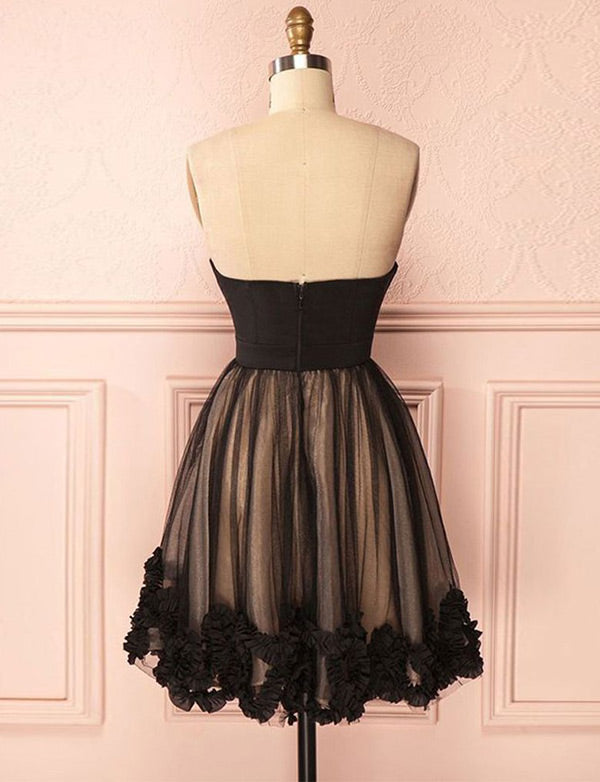 Vintage Sweetheart Black Cocktail Dress Tulle Short Homecoming Dress - ericprom