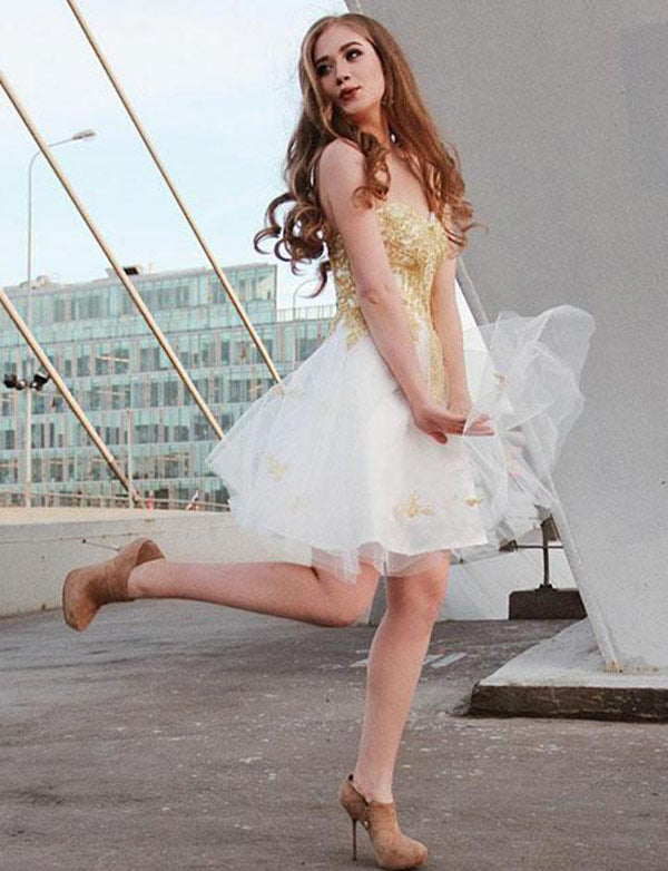 Princess A Line White Homecoming Dress with Appliques Sweetheart Cocktail Dress - ericprom