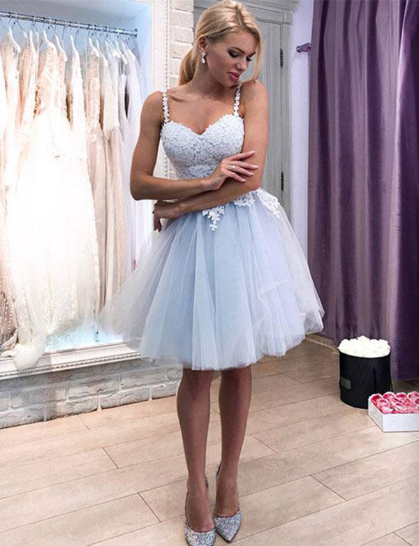 Cute A Line Spaghetti Straps Light Blue Homecoming Dresses Mini Cocktail Dress - ericprom