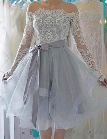 Off Shoulder Long Sleeves Gray Tulle Short Homecoming Dress with Bowknot