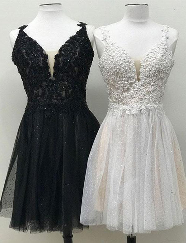 V Neck Black Homecoming Dres Mini White Cocktail Dress with Appliques
