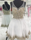 Trendy V-Neck White Homecoming Dress with Beading Cocktail Dress - ericprom
