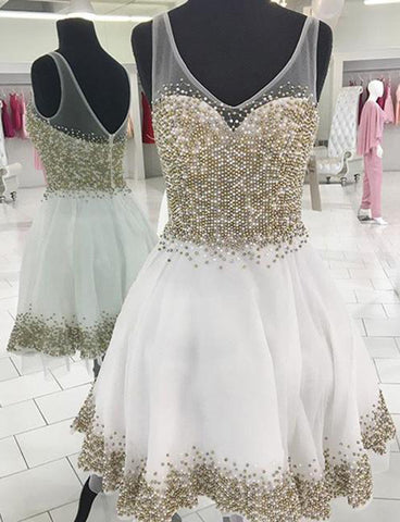 Trendy V-Neck White Homecoming Dress with Beading Cocktail Dress
