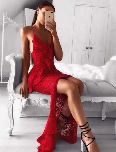 Hot Selling Spaghetti Straps Lace Criss-Cross Straps Mermaid Long Red Prom Dress