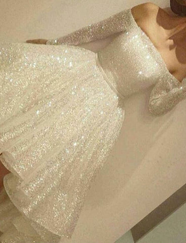 Stunning Off the Shoulder White Homecoming Dress with Sequin Prom Dress