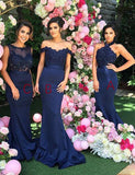 Mermaid Navy Blue Bridesmaid Dress with Lace Beading Long Wedding Party Dress - ericprom