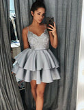 Spaghetti Straps Short Homecoming Dress with Appliques Pink Prom Dress - ericprom