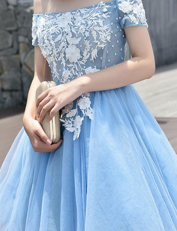 Off the Shoulder Homecoming Dress with Appliques Short Blue Cocktail Dress - ericprom