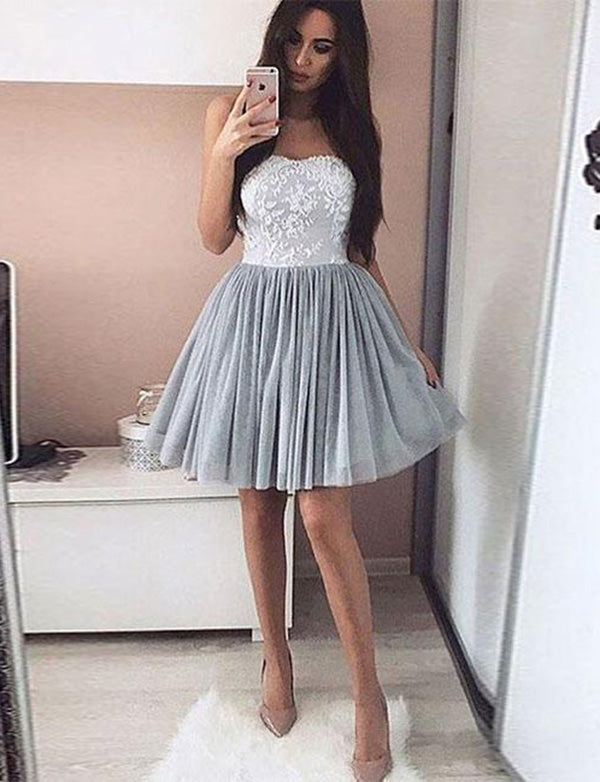 Strapless Tulle Grey Homecoming Dress with Appliques Short Cocktail Dress - ericprom