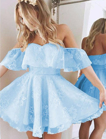 Glamorous Mini Off the shoulder A Line Short Sleeves Lace Homecoming Dress