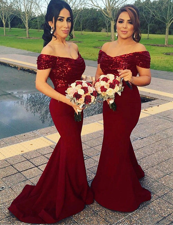 Popular Mermaid Off the Shoulder Long Burgundy Bridesmaid Dress with Sequin - ericprom