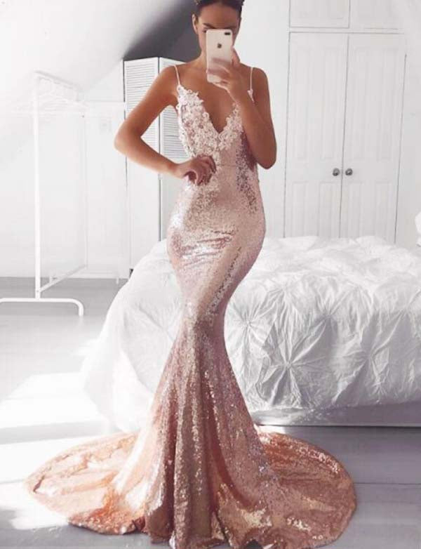 Mermaid Spaghetti Straps Sequin Evening Dress with Appliques Long Pink Prom Dress - ericprom