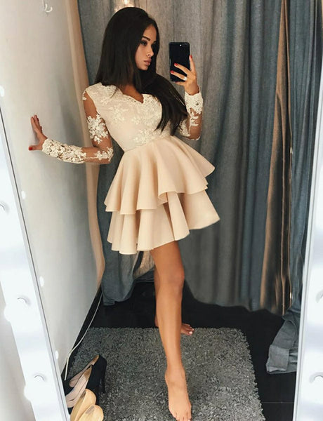 Elegant A-Line V-Neck Long Sleeves Homecoming Dress with Lace