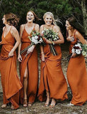 Cheap A Line Spaghetti Straps Chiffon Long Orange Bridesmaid Dress with Split - ericprom