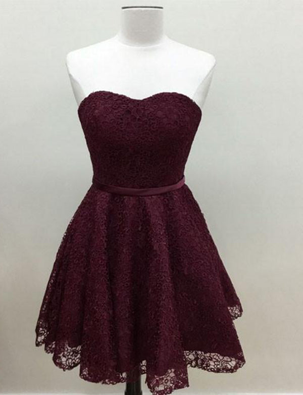Glamorous Lace A Line Short Burgundy Homecoming Dress Sweetheart Cocktail Dress - ericprom