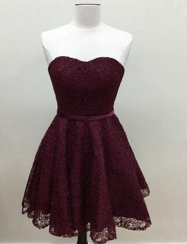 Glamorous Lace A Line Short Burgundy Homecoming Dress Sweetheart Cocktail Dress