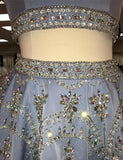 Short Two Piece Homecoming Dress with Beading Blue Cocktail Dress - ericprom
