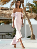 Mermaid Off the Shoulder Bridesmaid Dress with Lace Wedding Party Dress - ericprom