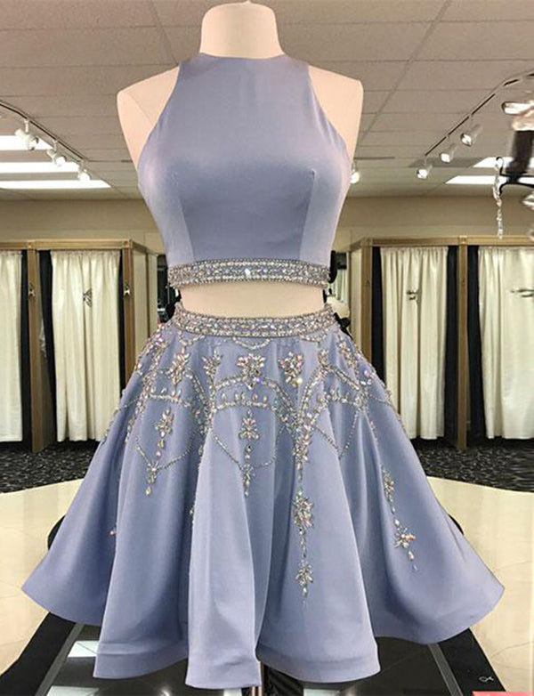 Short Two Piece Homecoming Dress with Beading Blue Cocktail Dress