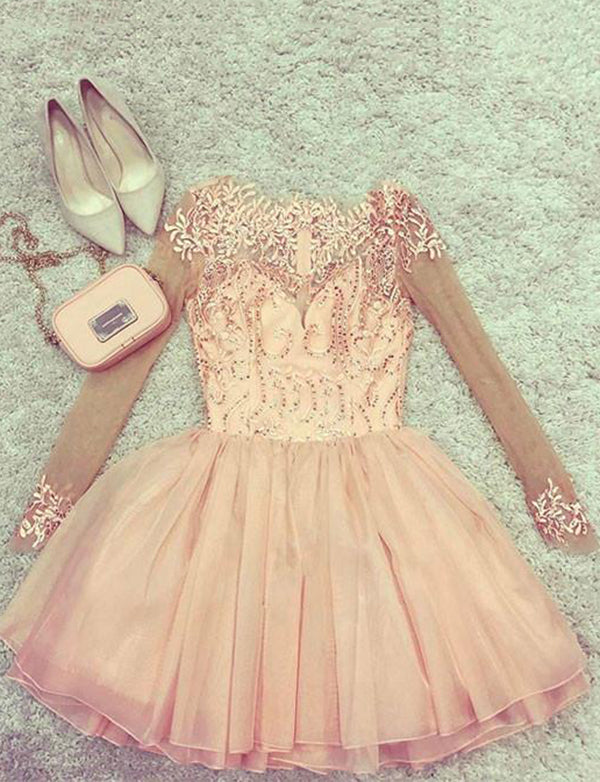 A-Line Long Sleeves Short Pink Tulle Homecoming Dress with Appliques - ericprom