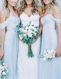 Top A Line Off the Shoulder Floor Length Chiffon Light Blue Bridesmaid Dress - ericprom