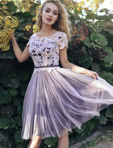 Cute A-Line Scoop Cap Sleeves Purple Tulle Knee Length Homecoming Dress with Lace