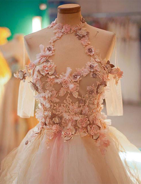 A Line Jewel Peach Short Homecoming Dress with Half Sleeves Flowers Keyhole - ericprom