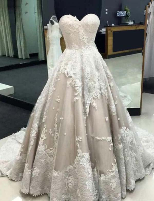 A Line Sweetheart Sweep Train Light Grey Wedding Dress with Lace Appliques - ericprom