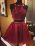 Two Piece Jewel Short Burgundy Homecoming Dress with Beading Cocktail Dress - ericprom
