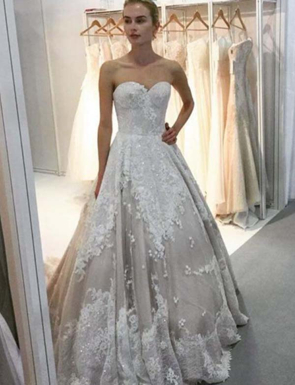 A Line Sweetheart Sweep Train Light Grey Tulle Wedding Dress with ...