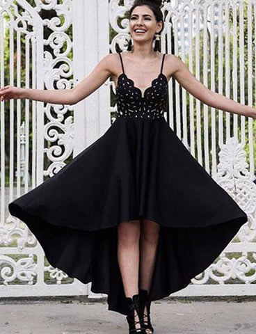 Spaghetti Straps Black Homecoming Dress High Low Prom Dress with Lace