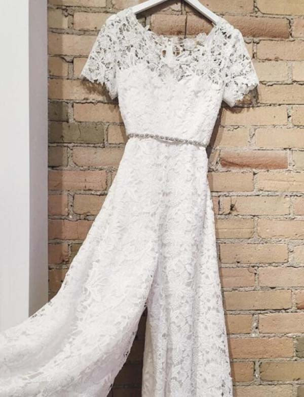 Round Neck Short Sleeves White Lace Bridesmaid Jumpsuit with Beading Belt - ericprom
