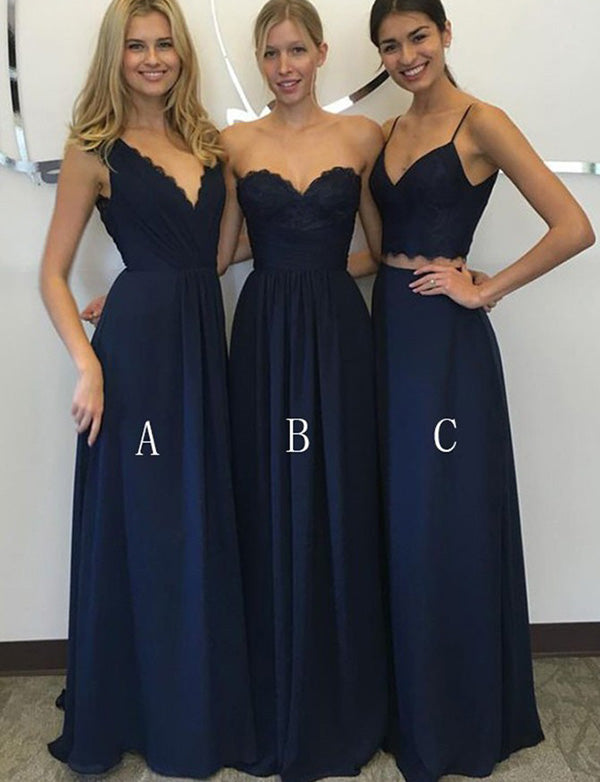 Mismatched Sleeveless Chiffon Navy Blue Long Bridesmaid Dress with Appliques - ericprom