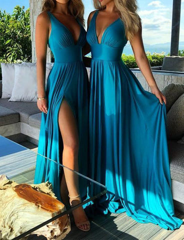 Simple A Line Sleeveless Deep V Neck Chiffon Long Blue Bridesmaid Dress with Split