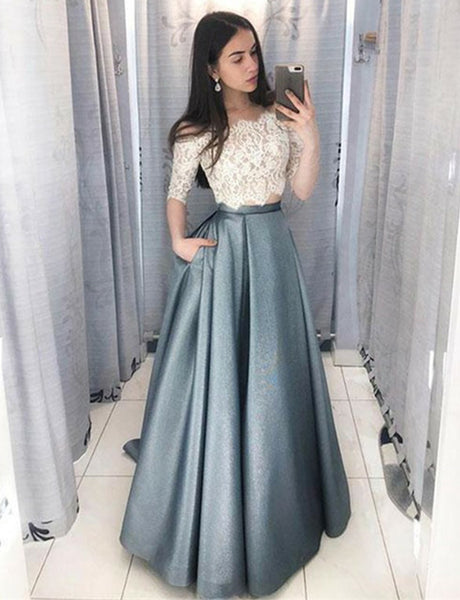 Cheap Off-the-Shoulder Half Sleeves with Pockets Lace Two Piece Prom Dress