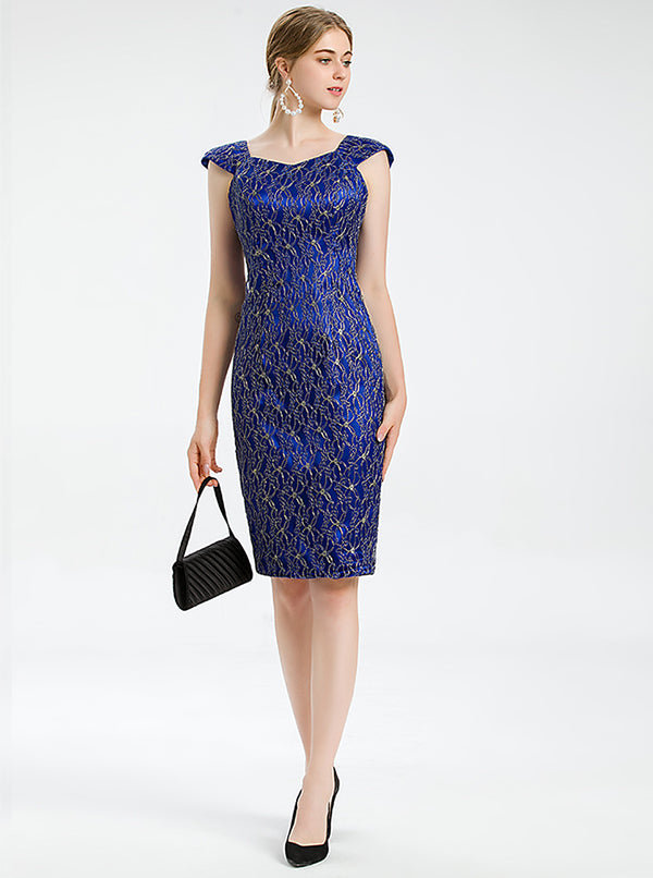 Blue Sheath Cocktail Dress