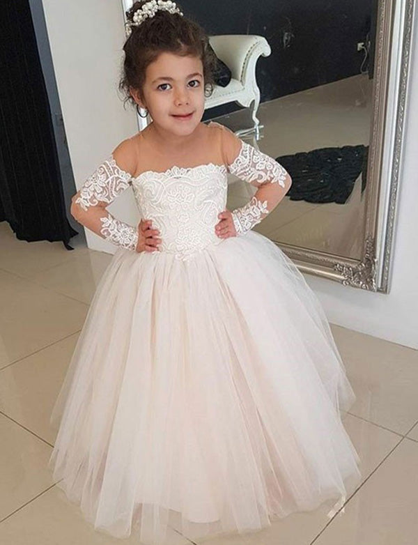 A Line Round Neck Pearl Pink Tulle Flower Girl Dress with Appliques - ericprom
