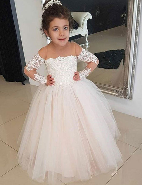 2e31694c3ed A Line Round Neck Pearl Pink Tulle Flower Girl Dress with Appliques ...