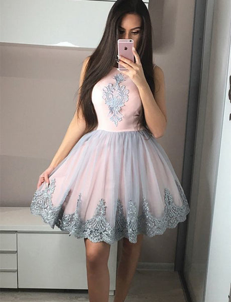 Cute Sleeveless Pearl Pink Homecoming Dress with Appliques Short Cocktail Dress